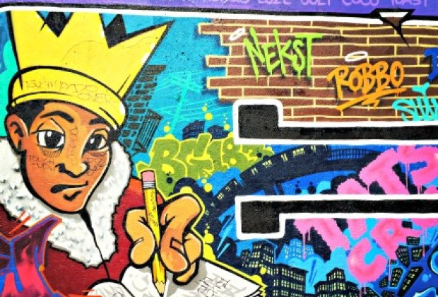 Check out an ever-changing canvas of amazing street art at the <br/>Graffiti Hall of Fame