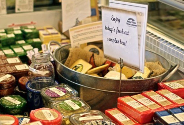Sample local cheeses at Grafton Village Cheese Co next to Retreat Farm