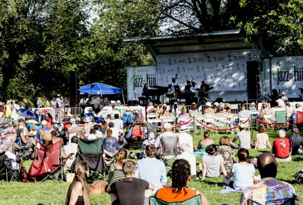 Set up a picnic in the grass and enjoy music at Great Jazz on the Great Hill.  Photo courtesy of the festival