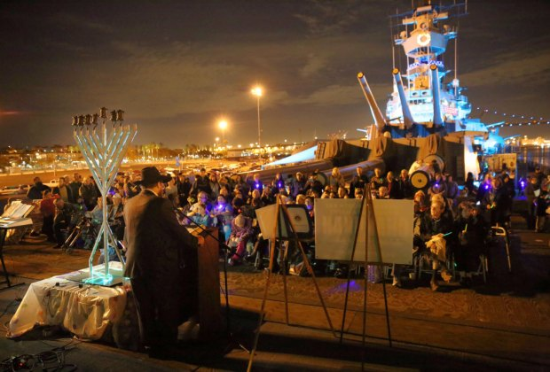 Hanukkah  aboard the USS Iowa. Photo by The Chabad of the South Bay