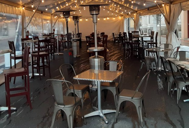 Harvest Moon Brewery offers tent seating outside