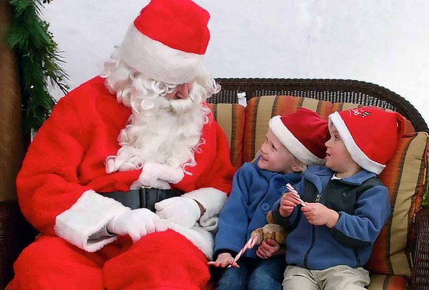 Santa Claus is taking a break from making toys at the North Pole to visit Heaven Hill Farm. Photo courtesy of the farm