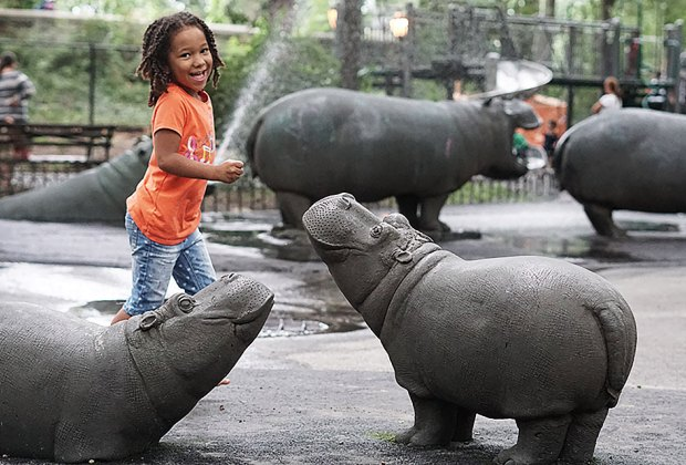 Splash with the hippos at the Upper West Side's Hippo Playground.