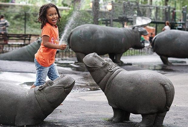 Sassy spraying hippos are kid-pleasing New York City playground residents.