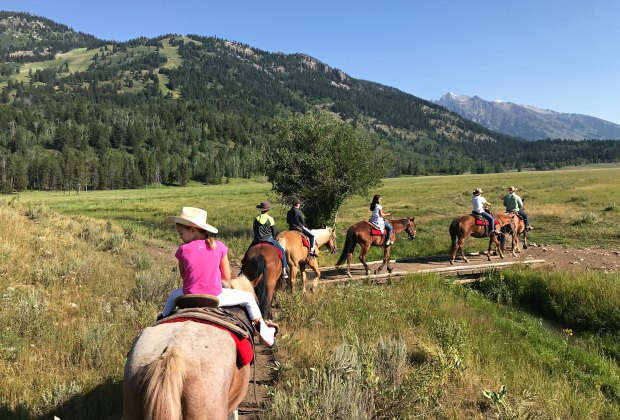 Large family groups can sign up for horseback riding adventures along the Teton foothills. All photos courtesy of the author