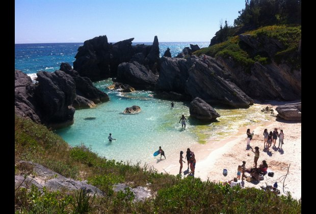 Families like this protected area of Horseshoe Bay Beach