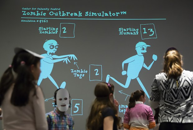 Kids can play an interactive game of zombie tag at NYSCI. Photo courtesy of NYSCI