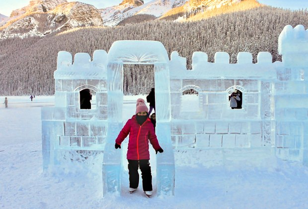 Enjoying an ice castle in Banff.