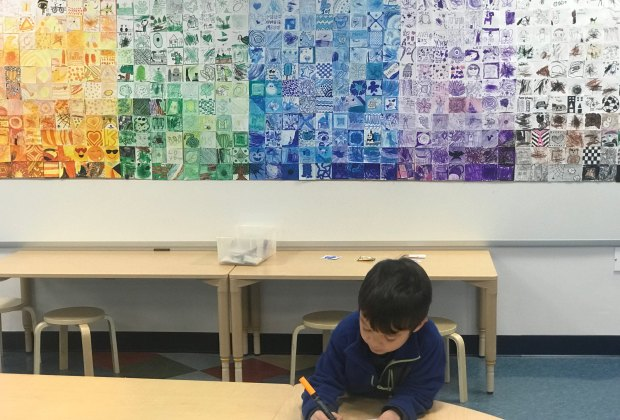 """A decorated """"mural"""" in the Art Studio adds color to this creative space"""