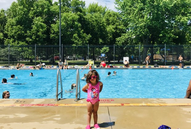 One of Chicago's littlest swimmers poses at Holstein Park Pool.