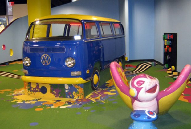 Interactive VW bus, soft butterfly and soft shape blocks