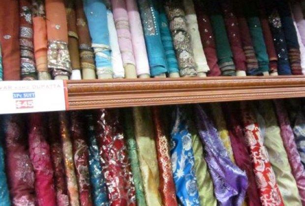 Colorful sari fabrics