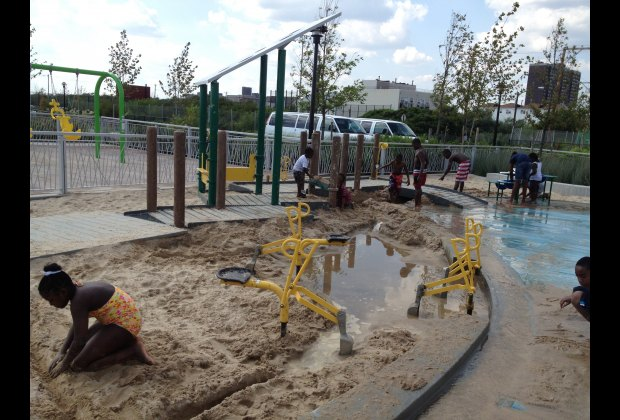 The sand area has lots of fun built-in activities