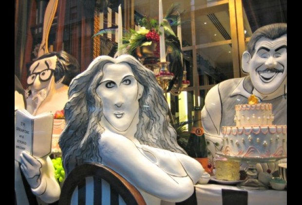 Bendel's windows feature famous faces done in Hirschfeld's signature style: Woody Allen, Sarah Jessica Parker and Jerry Stiller