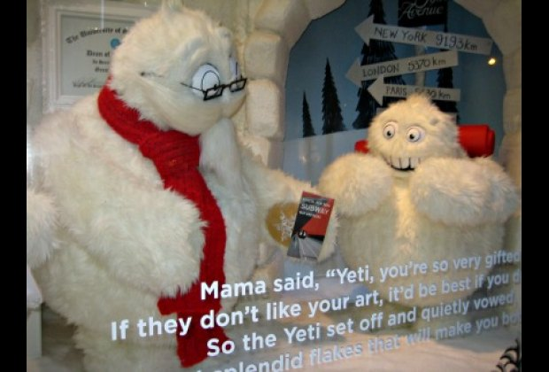 Saks Fifth Avenue's windows follow the adventures of a young yeti as he leaves home to make it big in the snowflake industry