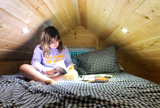 Kids warm up to a tiny home stay right away. Photo by the author