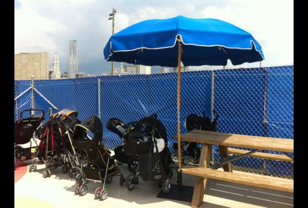 There's ample stroller parking by the front gate.