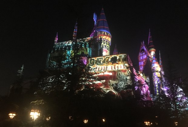 The light show on Hogwarts Castle
