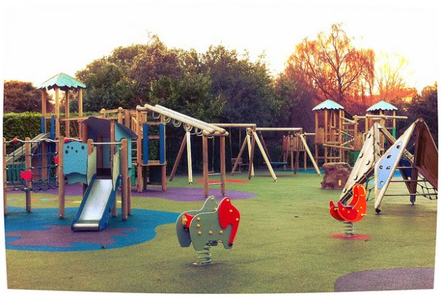 The playground in St. Stephan's Green is cold and damp in winter, but ready for action