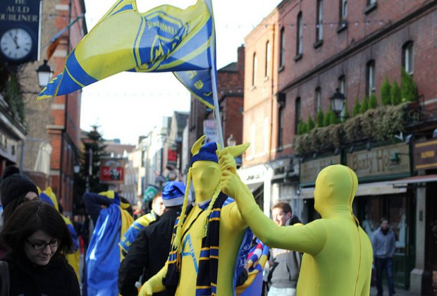 There's always partiers in the Temple Bar, like these football fans