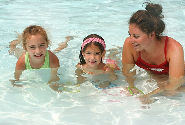 Camp Riverbend has a shallow pool that's perfect for first-time swimmers.