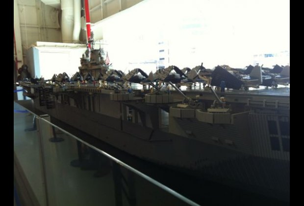 This 22-foot-long model of the Intrepid is made up of 250,000 Legos