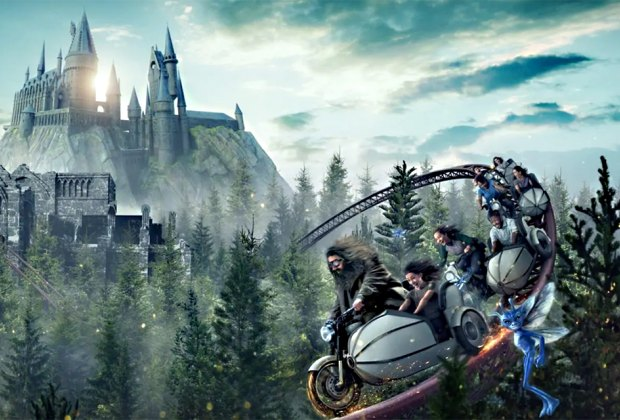 Visitors to the new Hagrid's Magical Creatures Motorbike Adventure will be able to fly beyond the grounds of Hogwarts Castle at Universals Harry Potter World. Courtesy Universal Orlando Resort