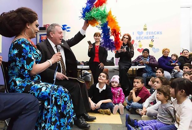 Check out the super popular Drag Queen Story Hour at the Jackson Heights Library.