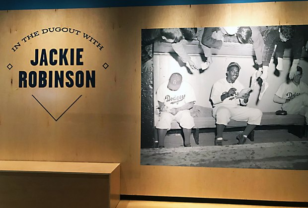 In the Dugout with Jackie Robinson is on view through September 15, 2019.