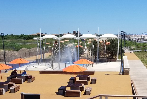 The splash pad is located near Field 4, just a walk across the boardwalk from the ocean.