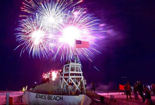 Enjoy an amazing fireworks display  over the ocean at Jones Beach. Photo courtesy of NY State Parks and Historic Sites
