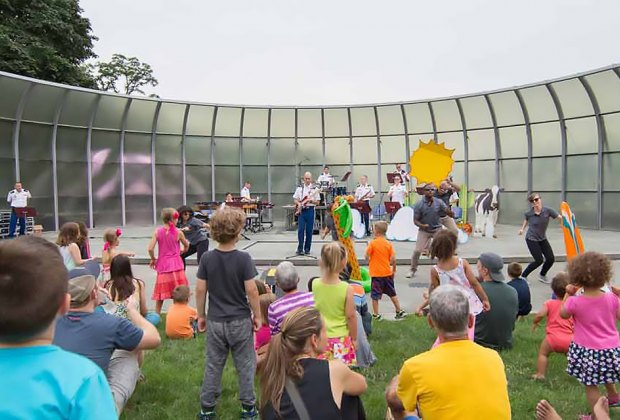 "Join Quintette 7 for a kids' concert and ""instrument petting zoo"" at  West Point's Trophy Point Amphitheater. Photo courtesy of the West Point Band"