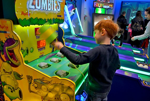 Whack-A-Mole is updated with a Plants Vs. Zombies theme. Photo by Sydney Ng
