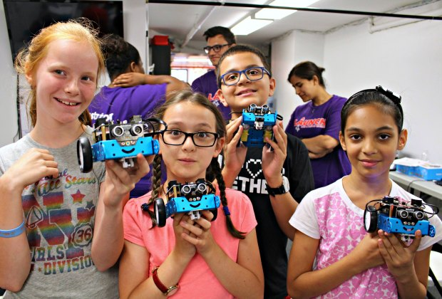 Launch Math + Science Centers offer exciting and educational one-week STEM summer camps for kids from Kindergarten to 7th grade (ages 5 to 12 years old). In mBot Robotics camp,  kids build, program, and keep their very own autonomous roving robots!
