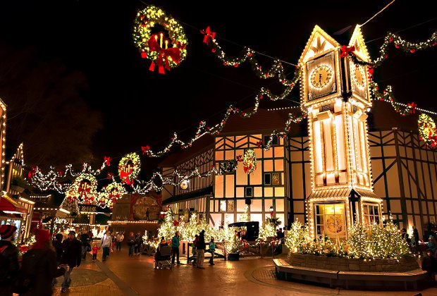 Theme parks like Busch Gardens in Virginia practically glow during the holidays.