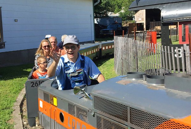 Enjoy a ride on the historic G16 miniature train at the Railroad Museum of Long Island. Photo courtesy of the museum