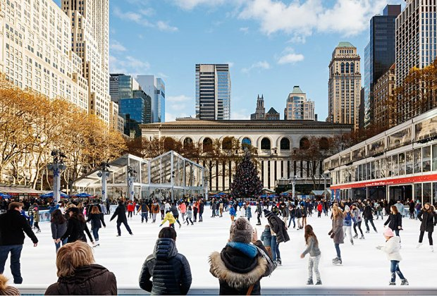 Bring your skates and you can hit the ice for free at Bryant Park. Photo by Colin Miller for the Winter Village