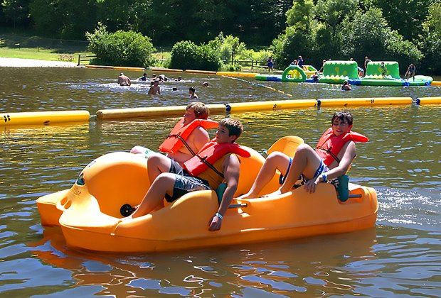 Lewis Morris Park has paddleboats for rent and an inflatable obstacle course at the center of the lake!