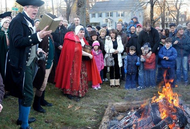 Witness history at the Lexington Tea Burning. Photo by Rick Beyer courtesy of Lexington Historical Society