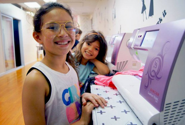 Stylish tweens can create a sewing project at a Fashion Class party. Photo courtesy of Fashion Class