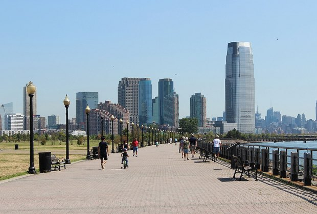 The paved walkway at Liberty State Park