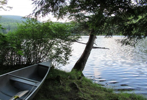 Canoe on shore at Little Pond Campground