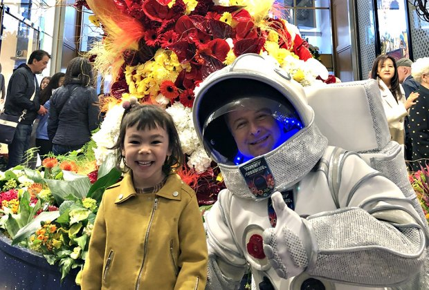 Meet an astronaut at Macy's Flower Show, Journey to Paradisos. Photo by Janet Bloom