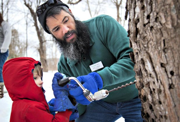 Kids learn to tap trees at MapleFest. Photo courtesy of Sharon Audubon Center
