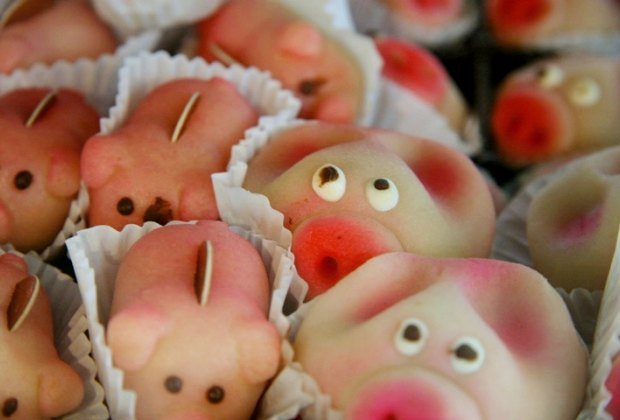 Marzipan pigs bring good luck in the new year.