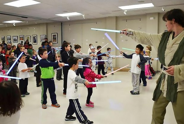 Meet Star Wars characters, see movies, make crafts and dress as your favorite character on Star Wars Reads Day at East Meadow Public Library. Photo courtesy of the library