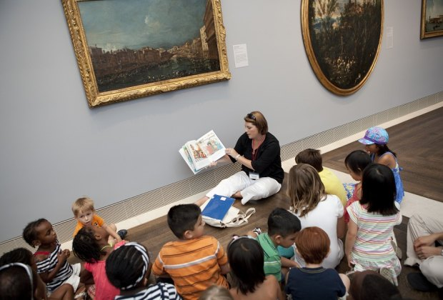 Toddlers enjoy art adventures during Little Artists at the Museum of Fine Arts, Houston. Photo courtesy Jenny Antill for the Museum of Fine Arts, Houston.