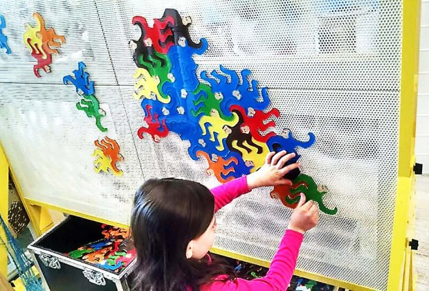 "Channel your creative self at ""Miles of Tiles"" at the Long Island Explorium.  Photo courtesy of the explorium"