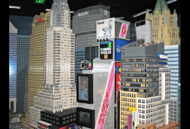 Miniland features many NYC landmarks made from millions of Legos like skyscrapers...