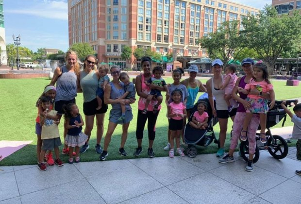 Moms and kids get sweaty and fit together at Mommy & Me Fitness in the Plaza. Photo courtesy of Jennifer Faas.
